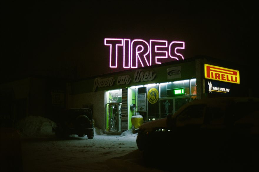 An auto-shop in Scarborough, Ontario on a cold winter night