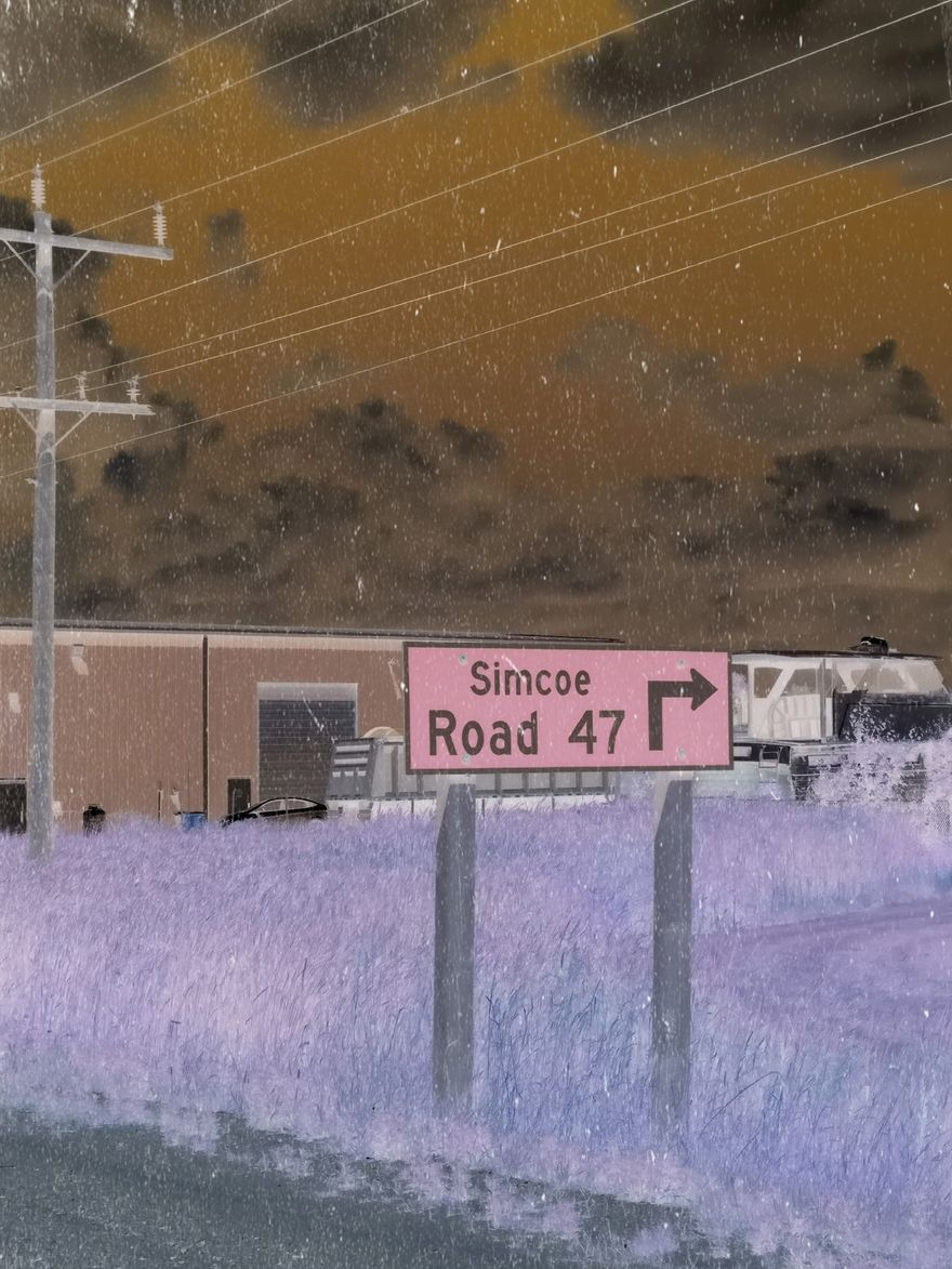 simcoe road 47 road sign, negative photo filter, electrical lines, orange cloudy sky, purple grass field, garage building in the background