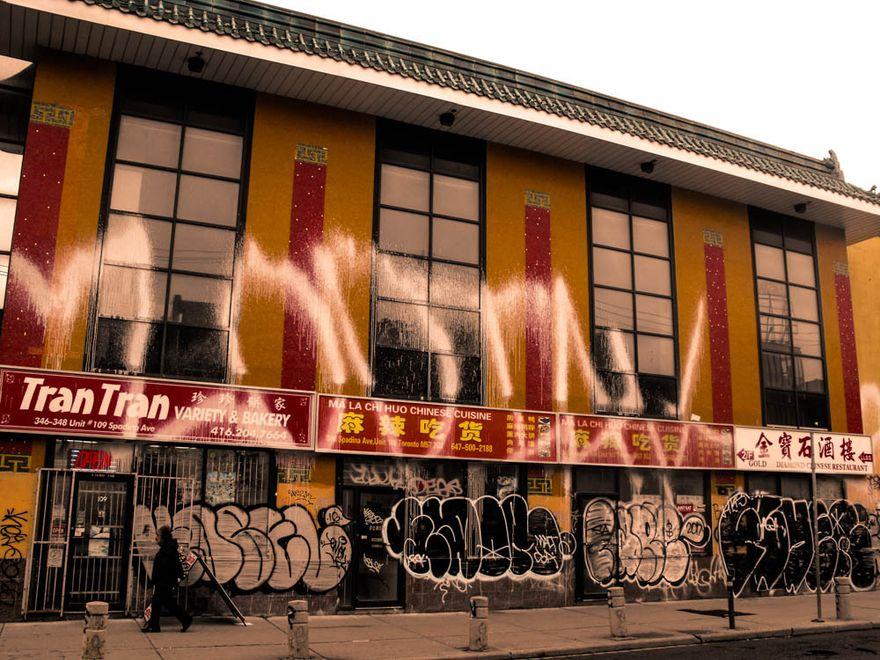 Graffiti wall in Chinatown, Toronto, Canada