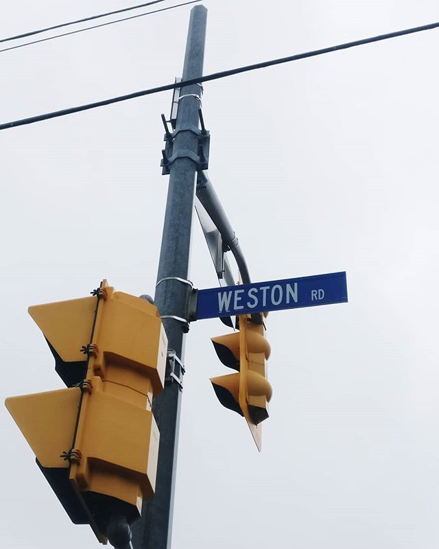 road sign/signal of weston rd in Toronto, Canada